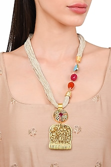 Gold Plated Brass Comb Motif String Necklace by Rohita and Deepa