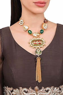Gold Plated Green Onyx Kundan Necklace