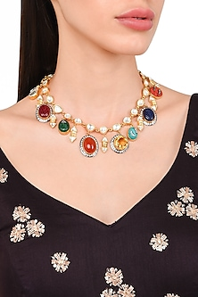 Gold Plated Navratan Style Necklace by Rohita and Deepa