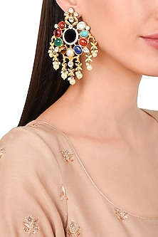 Gold Plated Shell Pearl Earrings by Rohita and Deepa