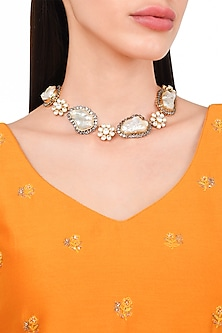 Gold Plated Baroque Pearls Necklace by Rohita and Deepa
