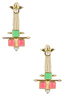 Gold Matte Finish Colored Deco Glass Chains Earrings by Rohita and Deepa
