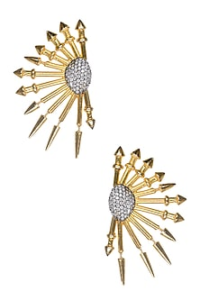 Gold Matte Finish Cubic Zirconium Metal Spikes Earrings by Rohita and Deepa