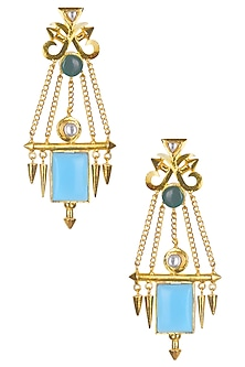 Gold Matte Finish Blue Deco Glass And Malachite Earrings by Rohita and Deepa