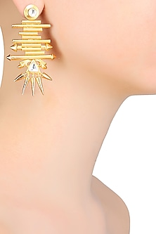 Gold Matte Finish Pipes And Spikes Starburst Motif Earrings