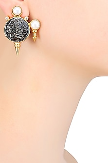 Antique Coin Motif Pearl Knobs Earrings by Rohita and Deepa