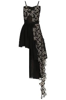 Black Gathered Mini Dress