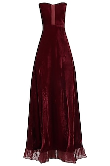 Deep Red Strapless Gown