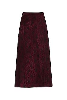 Maroon Embossed Midi Skirt