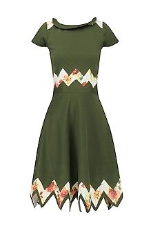 Olive Green Zigzag Floral Print Knee Length Dress