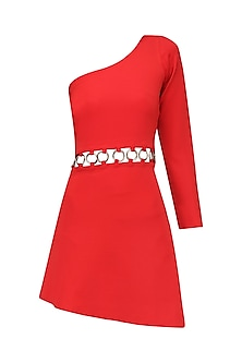 Coral One Shoulder Mini Dress