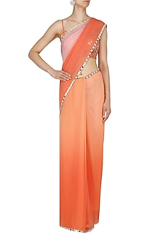 Tangerine and Peach Embroidered Saree Set by Renee Label