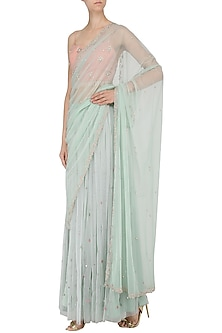 Blush Pink and Mint Blue Embroidered Lehenga Set by Renee Label