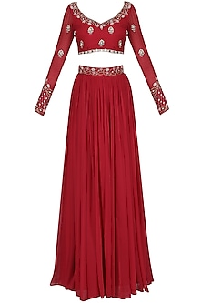 Rose Red Embroidered Lehenga Set