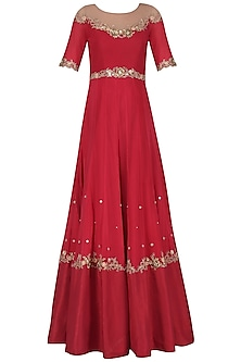 Rose Red Embroidered Anarkali Gown Set by Renee Label