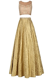 Gold and Nude Embroidered Lehenga Set
