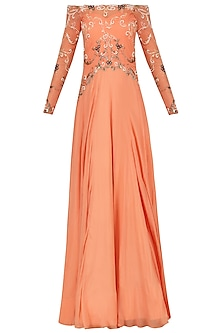 Tangerine Off Shoulder Embroidered Gown