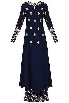 Navy Blue Embroidered Kurta and Palazzo Set