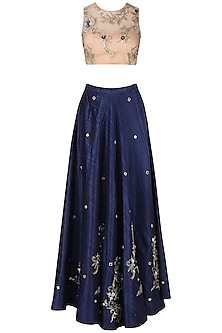 Navy Blue and Nude Embroidered Lehenga Set by Renee Label