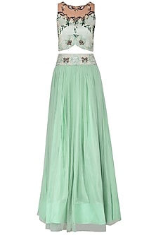 Mint Embroidered Lehenga Set