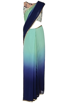 Mint Navy Blue Ombre Saree with Blouse