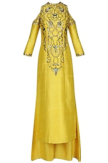 Amber Yellow Embroidered Kurta with Palazzo Pants