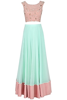 Mint and Blush Pink Lehenga Set