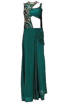 Teal Embroidered Draped Saree with Blouse by Renee Label