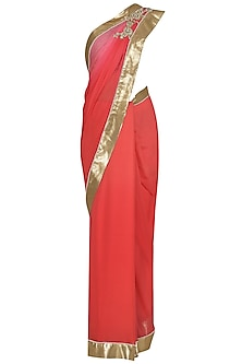 Tangerine and Red Ombre Embroidered Saree with Blouse