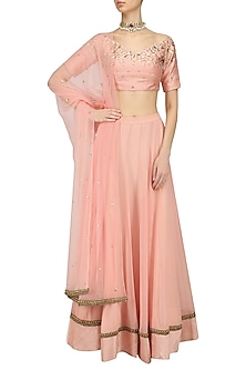 Blush and Gold Floral Scatter Embroidered Lehenga Set by Renee Label