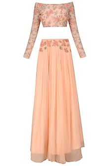 Blush Rose Embroidered Net Crop Top with Crushed Skirt by Renee Label