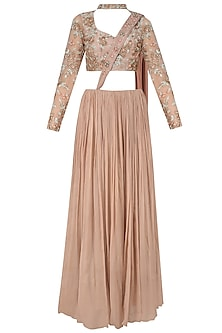 Nude Rose Embroidered Choker Crop Top with Crushed Skirt by Renee Label