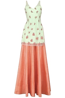 Pistachio Rose Embroidered Kurta with Fresh Coral Lehenga by Renee Label