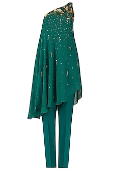 Teal Nouveau Embroidered One Shoulder Tunic with Straight Fit Pants by Renee Label