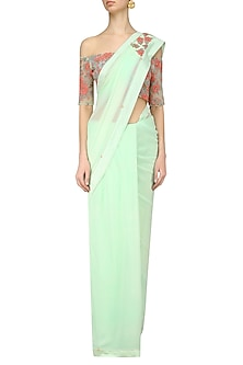 Pistachio Rose Embroidered Blouse and Pre Draped Saree Set by Renee Label