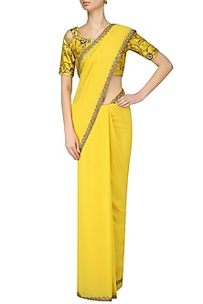 Amber Yellow Nouveau Embroidered Blouse and Saree Set by Renee Label