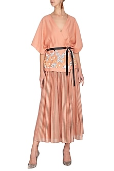 Melon Embellished Kimono Top With Belt by Rohit Gandhi & Rahul Khanna