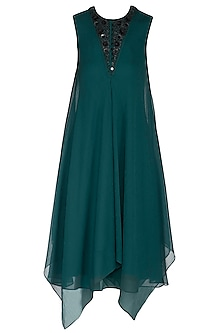 Fauna Green Embroidered Layered Dress by Rohit Gandhi & Rahul Khanna