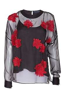 Charcoal Sheer Embroidered Top by Rohit Gandhi & Rahul Khanna