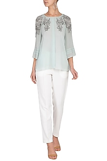 Tiffany blue Embroidered Top by Rohit Gandhi & Rahul Khanna