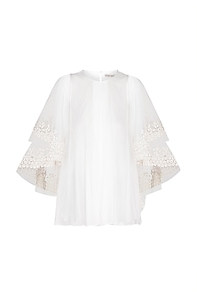 White Embroidered Flared Top by Rohit Gandhi & Rahul Khanna
