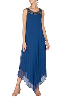 Electric Blue PLeated Dress by Rohit Gandhi & Rahul Khanna