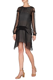 Black Embroidered Sheer Dress by Rohit Gandhi & Rahul Khanna