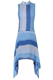 Blue Ajrak Roll Collared Asymmetric Dress