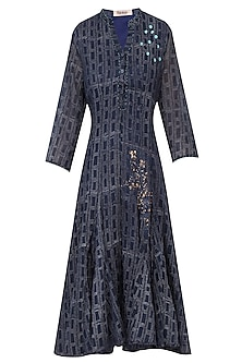 Black Block Printed Indian Kurta Style Dress