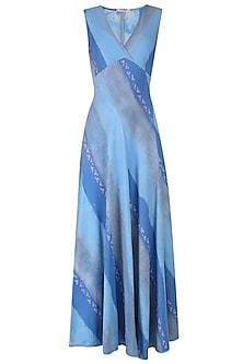 Blue Ajrak Roll Printed Empire A Line Jersey Dress