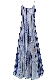 Blue Strappy Dress with White Printed Underlayer