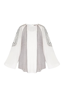 White Printed & Embellished Paneled Top by Rohit Gandhi & Rahul Khanna