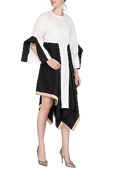White & Black Cascade Tunic Dress by Ritesh Kumar