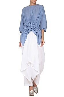Sky Blue Kaftan Crop Top by Ritesh Kumar